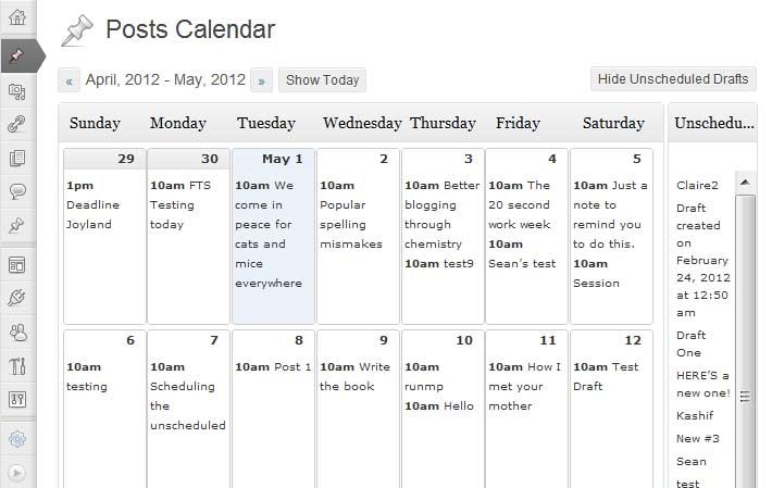 WordPress Plugin: Editorial Calendar