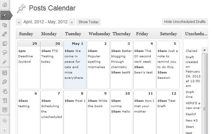 WordPress Plugin: Editorial Calendar