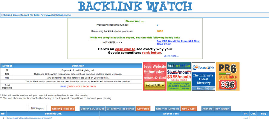 Backlinkwatch - Backlink Checker Tool