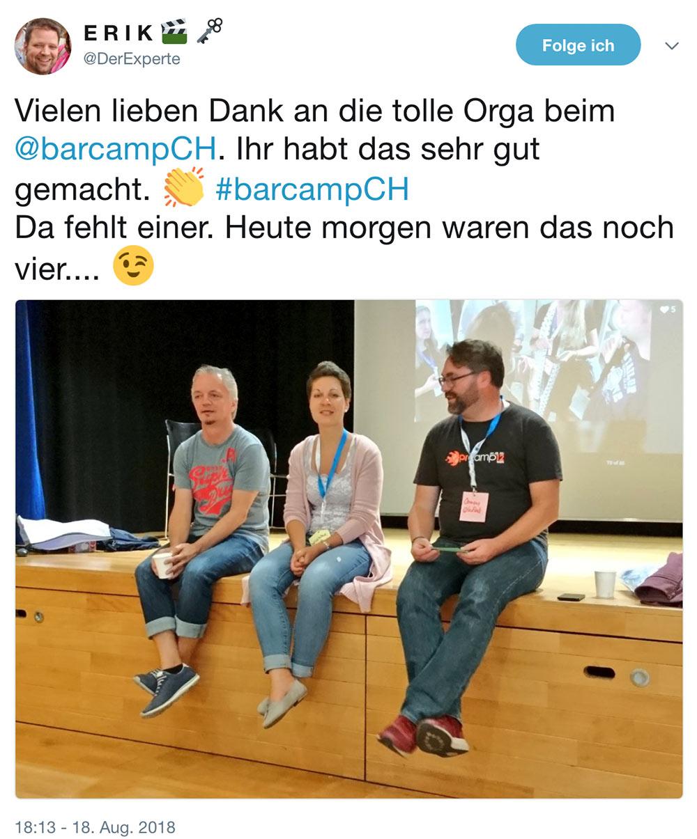 barcamp schweiz 2018 barcampch tweets 10 - Barcamp Schweiz 2018 - Mein Rückblick