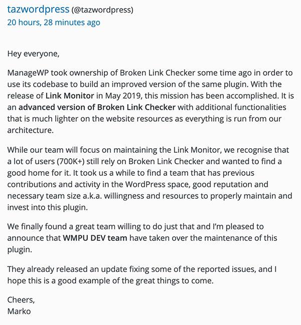 broken link checker statement november 2019 - Broken Link Checker ist doch wieder da und bekommt neues Team