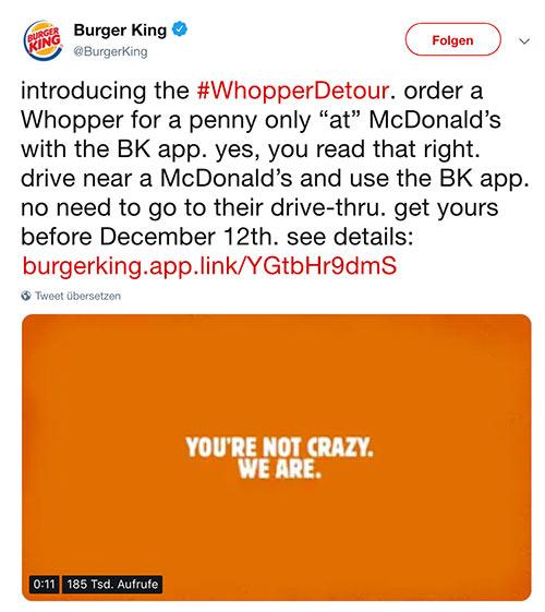 burger king app whopper detour 2 - Burger King geile Werbung dank Geofencing