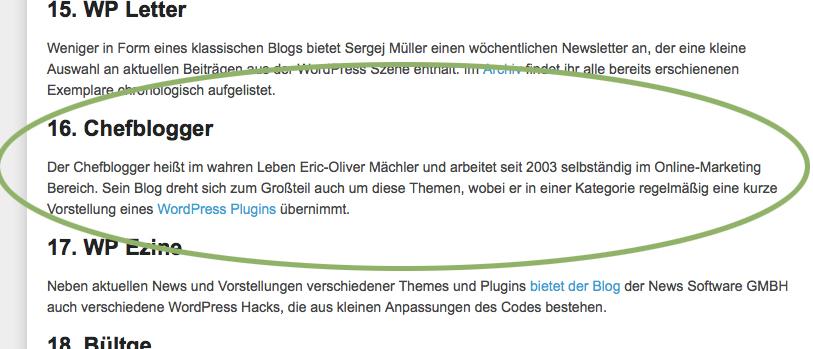 chefblogger topliste 8mai - Die grössten deutschsprachigen WordPress Blogs - wir sind dabei !