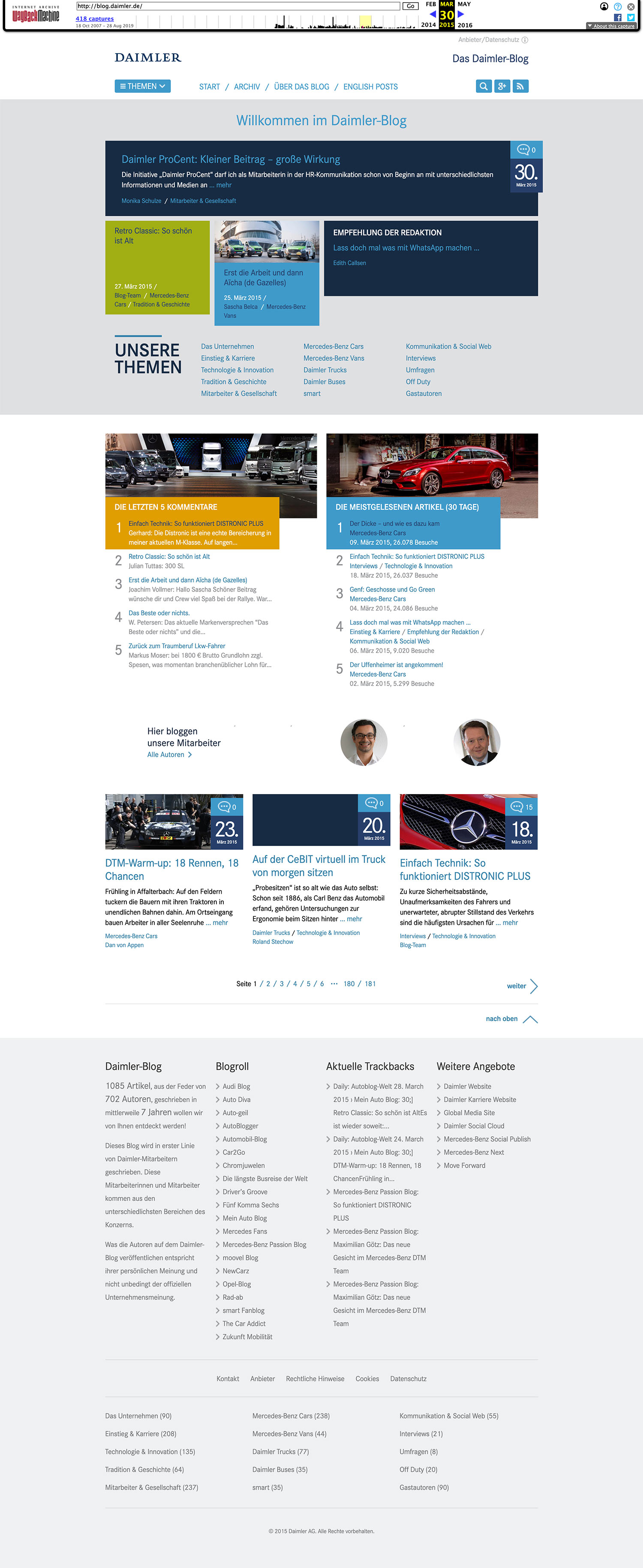 corporate blog daimler ueberblick 2015 - RIP Daimler Blog