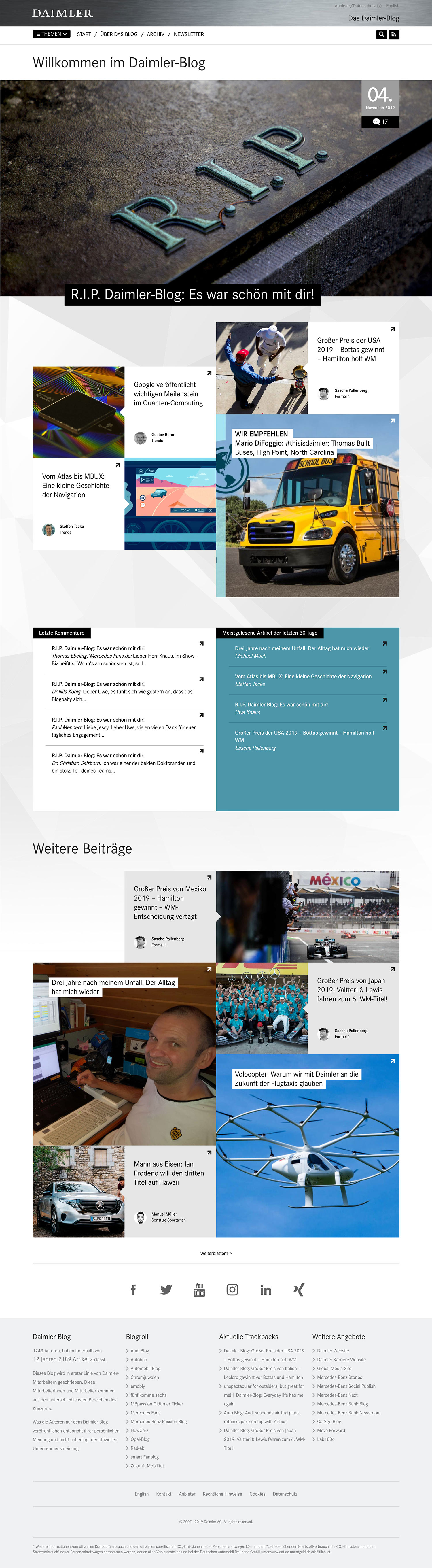 corporate blog daimler ueberblick 2019 - RIP Daimler Blog