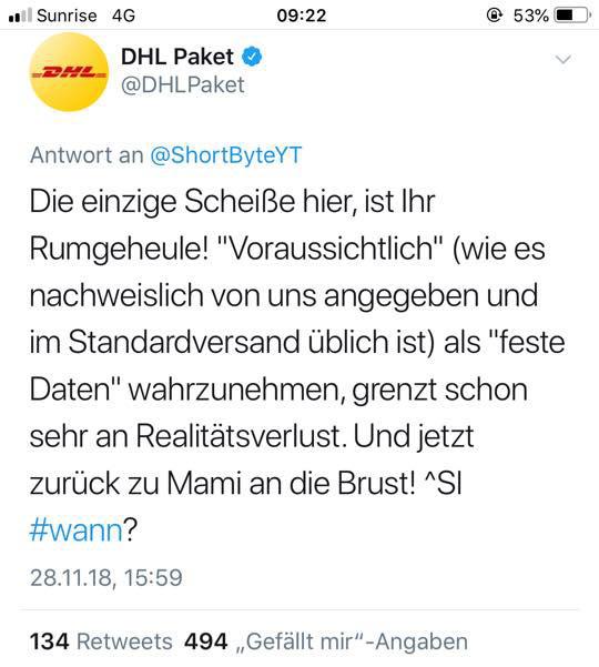 dhl tweet nov2018 2 - DHL und der Social Media Fail