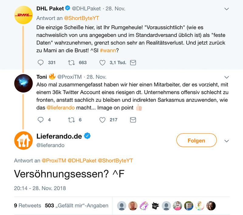 dhl tweet nov2018 3 - DHL und der Social Media Fail