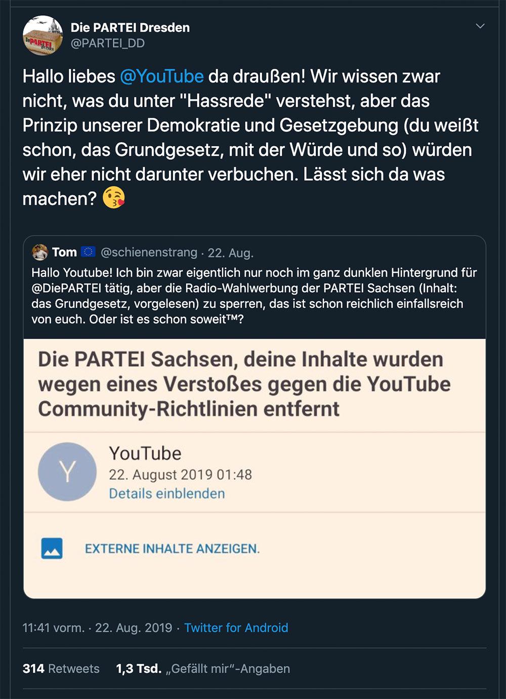 die partei grundgesetz hassrede youtube uploadfilter fail 2 - Youtube sagt, dass das deutsche Grundgesetz eine Hassrede ist und zensiert es darum