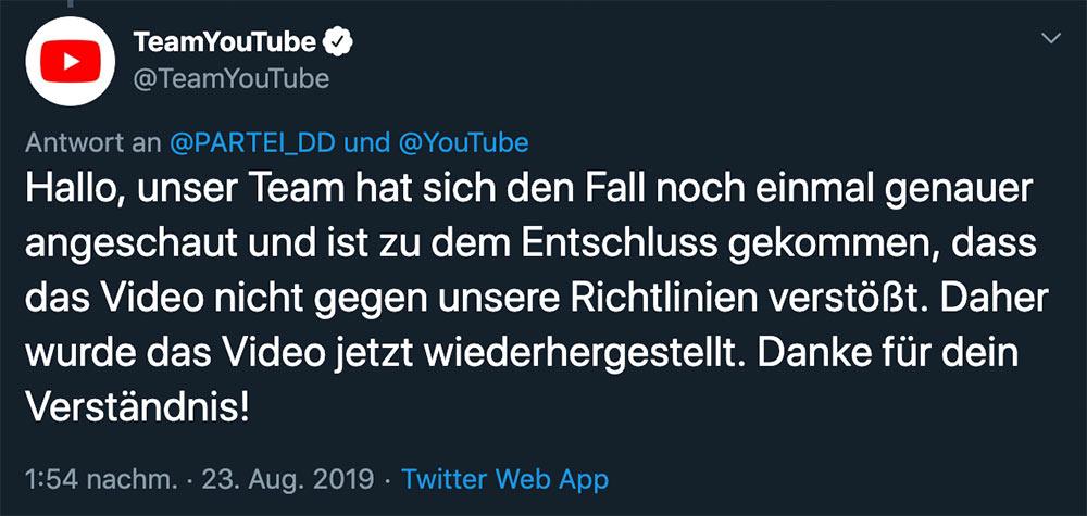 die partei grundgesetz hassrede youtube uploadfilter fail 4 - Youtube sagt, dass das deutsche Grundgesetz eine Hassrede ist und zensiert es darum