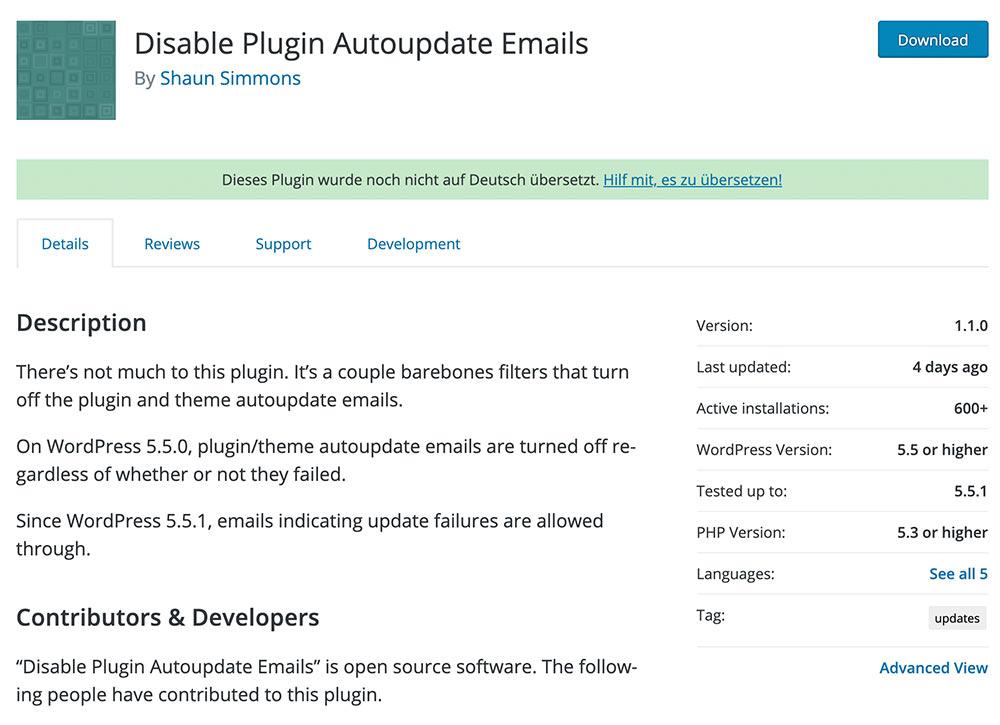 disable plugin wordpress 5 5 autoupdate emails - WordPress Automatische E-Mails bei Plugin oder Theme Update abschalten