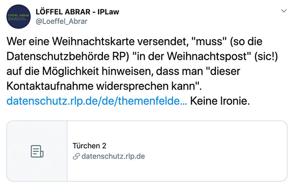 dsgvo weihnachtskarten 2019 3 - In Deutschland sind Weihnachtskarten abmahnfähig