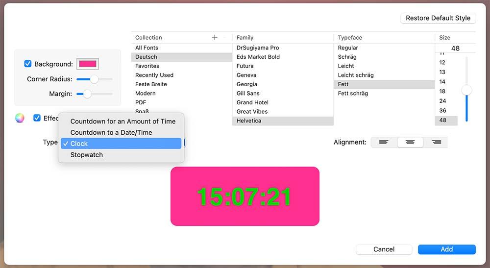ecamm live text overlay - Wochentag & Datum & Uhrzeit in einem Livestream anzeigen lassen (Ecamm Live oder auch mit OBS)