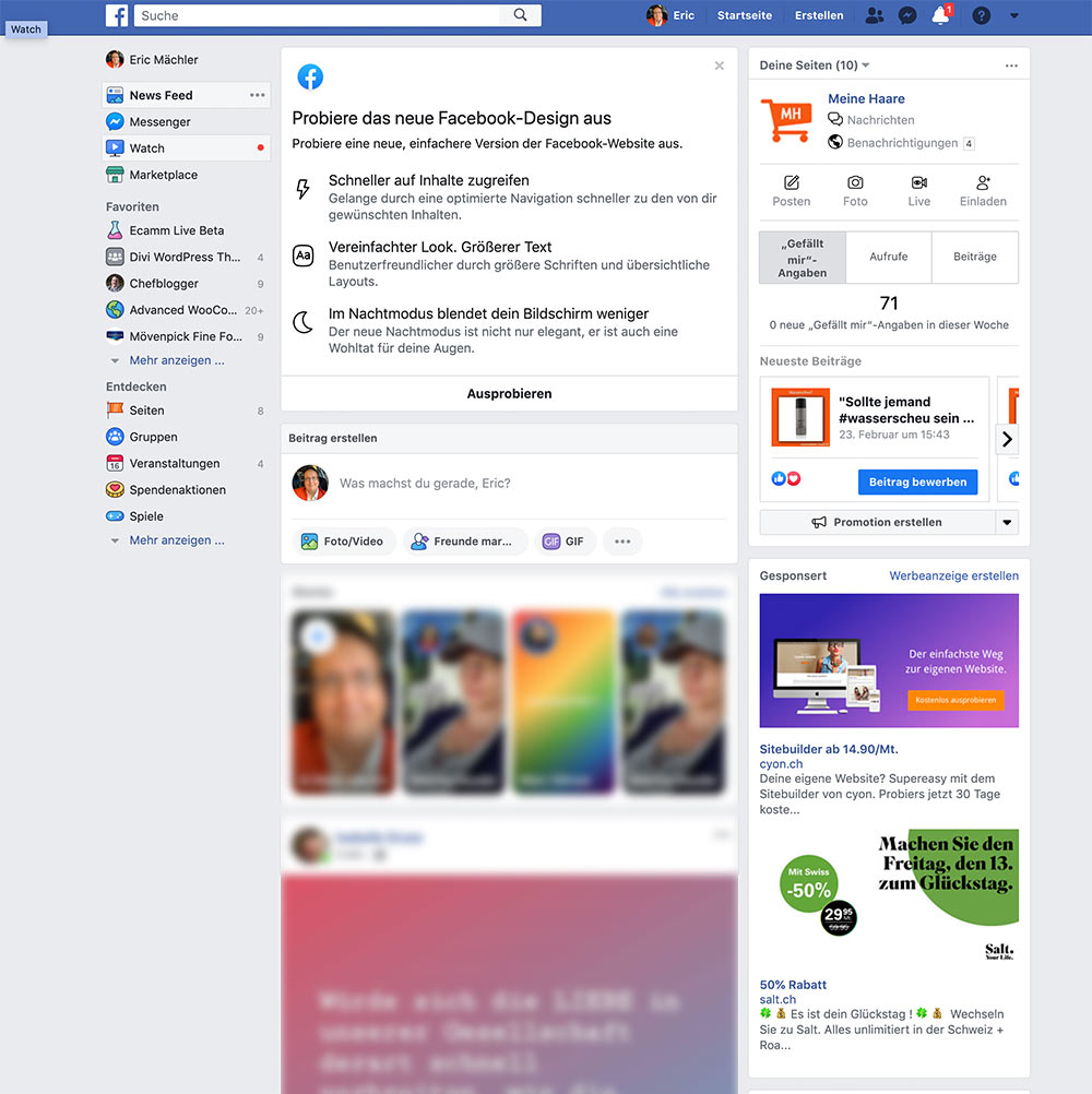 facebook 2020 new design 1 - Das neue Facebook Design ist da