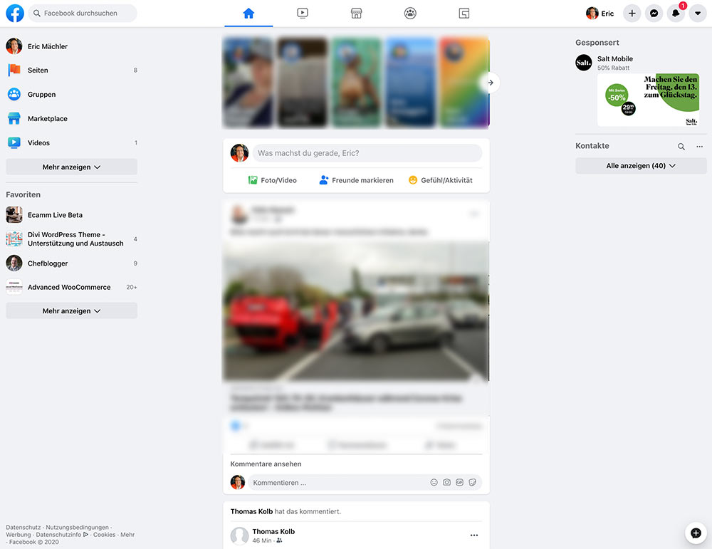 facebook 2020 new design 2 - Das neue Facebook Design ist da