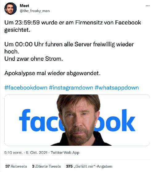 facebook down okt 21 chuck norris - Was können wir vom Versagen von Facebook, Instagram und Whatsapp lernen?