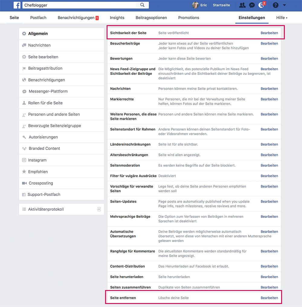 facebook fanpage loeschen deaktivieren 3 - Anleitung: Wie löscht oder deaktiviert man eine Facebook Fanpage?