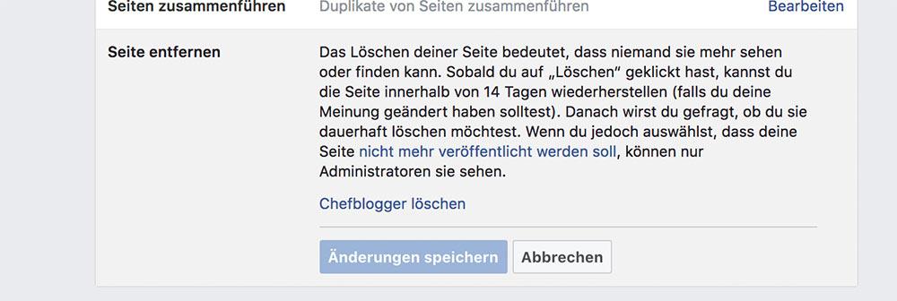 facebook fanpage loeschen deaktivieren 5 - Anleitung: Wie löscht oder deaktiviert man eine Facebook Fanpage?