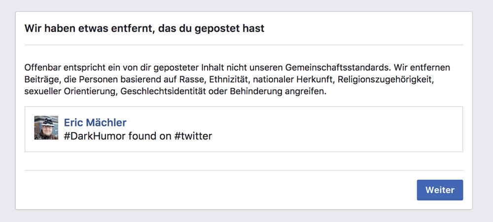 facebook sperre schwarzer humor 2 - Facebook: Schwarzer Humor führt zu Sperrung