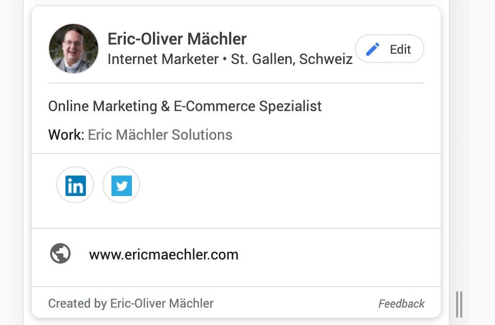 google people card visitenkarte google eric maechler - Die neuen Google Visitenkarten sind da (Google People Card) - Wie installiert man die?