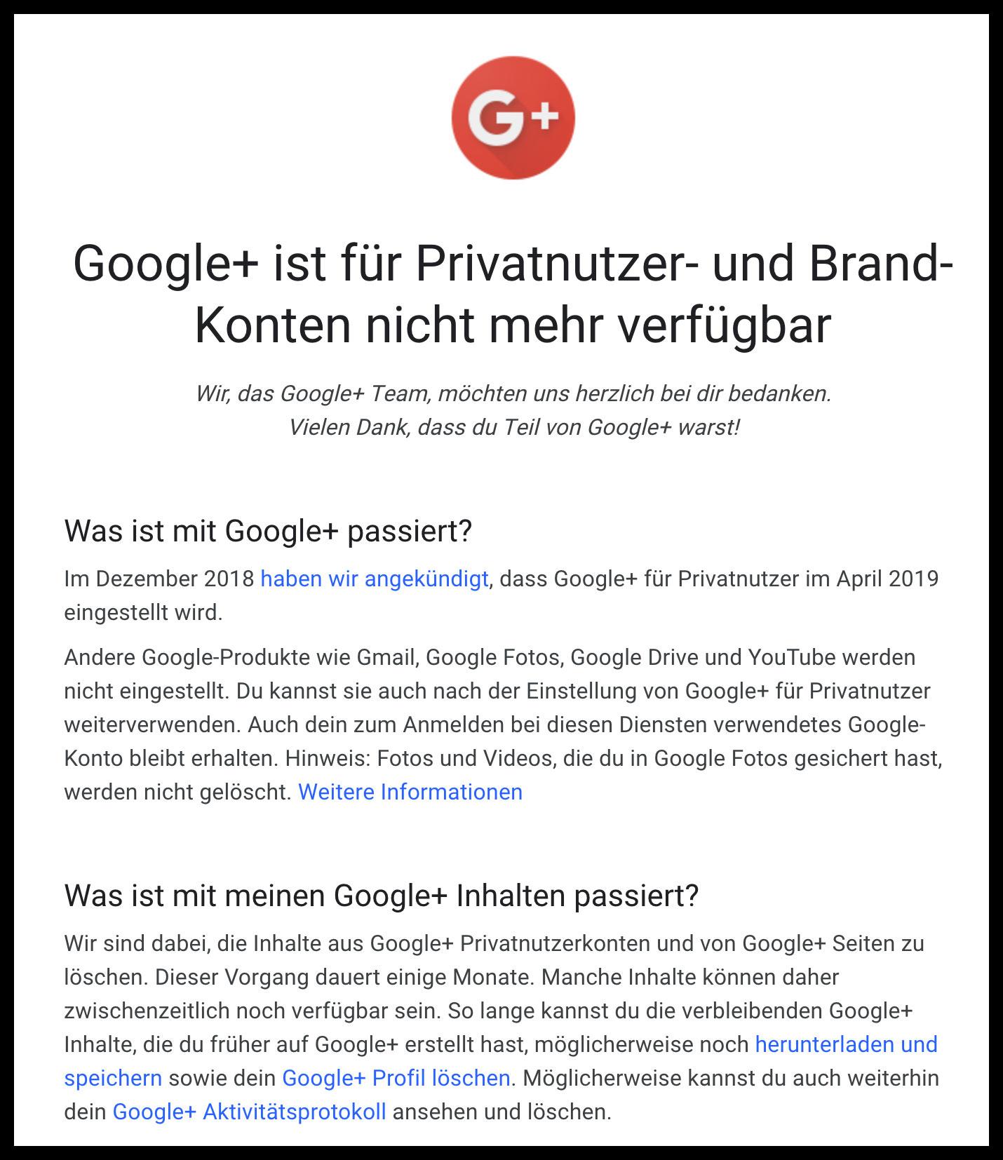 google plus ist geschichte - Google Plus (Google+) ist eingestellt