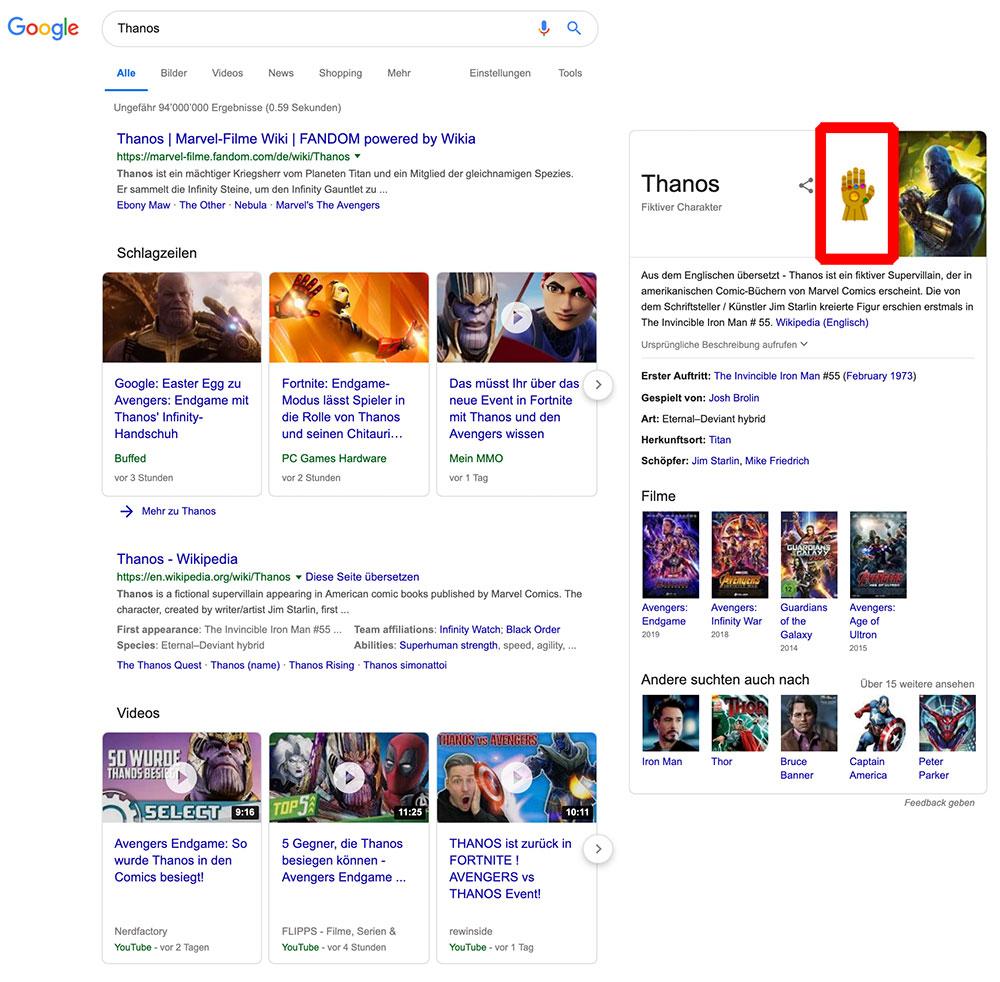 google thanos aventers easteregg 2 - Google Thanos Avengers 4 Endgame Easteregg