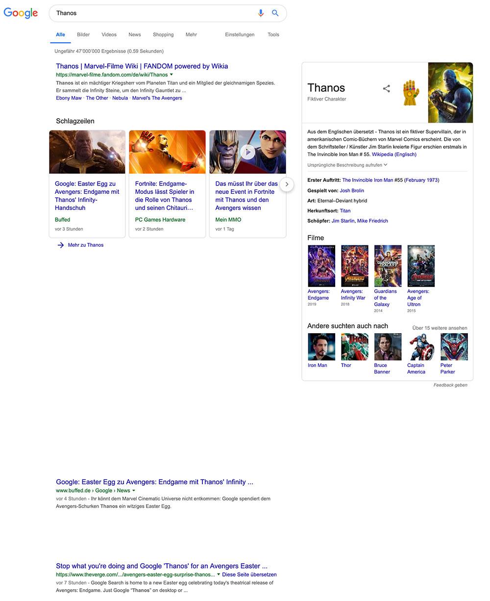 google thanos aventers easteregg 3 - Google Thanos Avengers 4 Endgame Easteregg