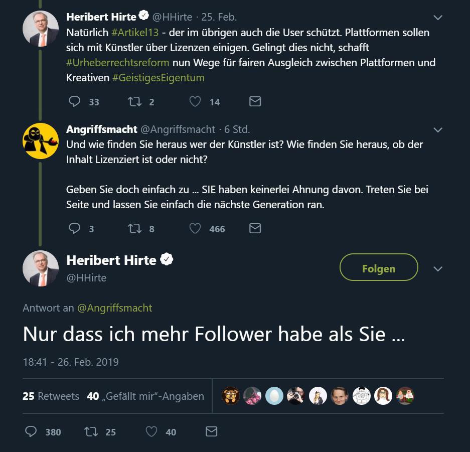 heribert hirte tweet 1 - Heribert Hirte -  Mir egal was du sagst - ich habe mehr Follower als du! #NiemehrCDU