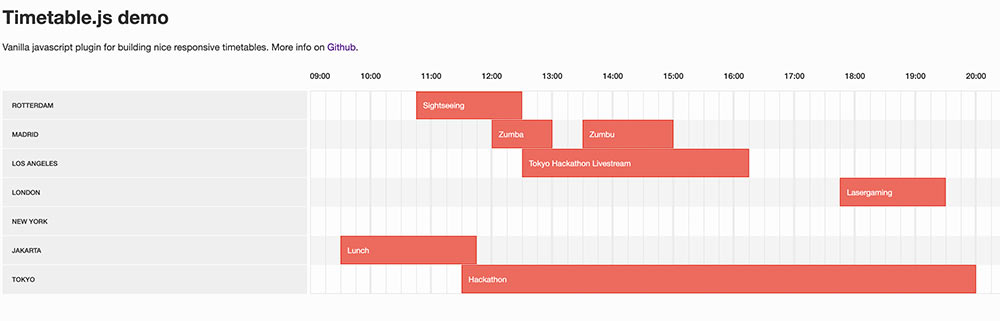 javascript timetable 2 - Javascript Timetable Script