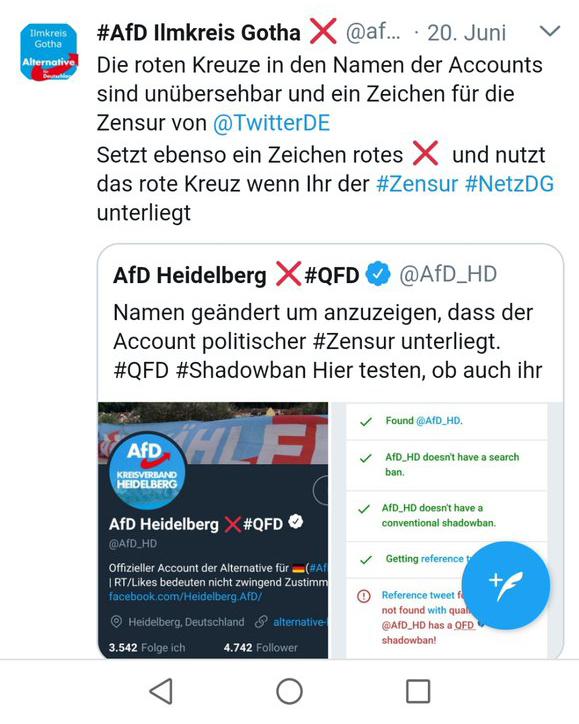 kreuz shadowban tweet afd - Wer vom Shadowban betroffen ist, ist ein Nazi ! Oder?