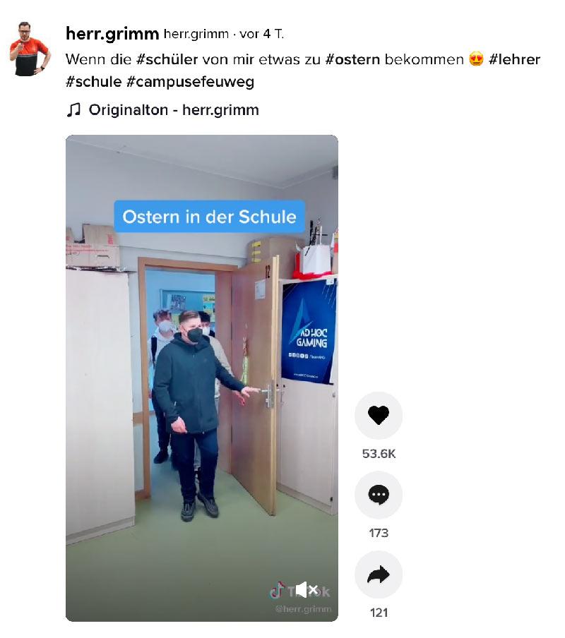 lehrer robin grimm tiktok schule - Goldene Blogger nominierung für Herr Grimm und seine Schüler für seine Tiktok Videos