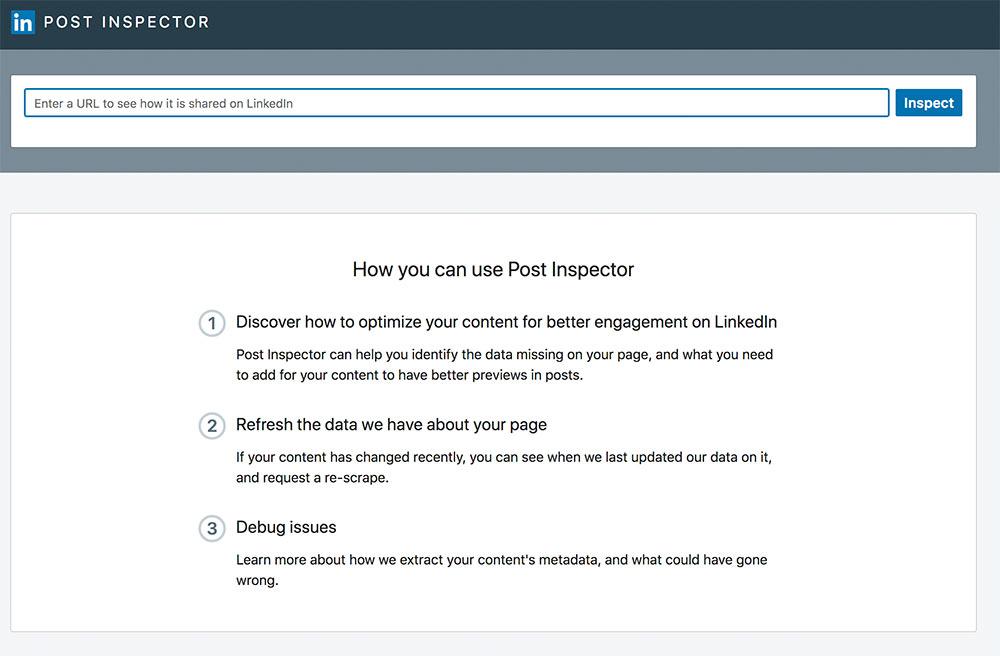 linkedin post inspector - LinkedIn erlaubt nun die ReIndexierung von Webseiten nach Updates