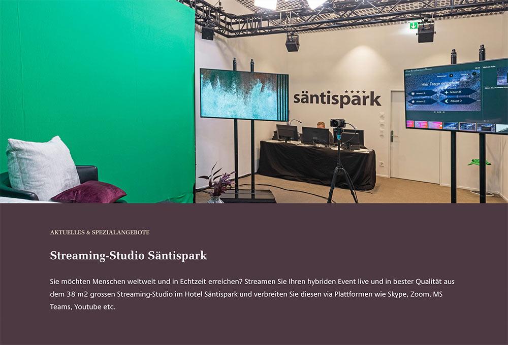 livestream studio hotel saentispark abtwil stgallen - Das vergoldete Streaming-Studio des Säntispark St. Gallen