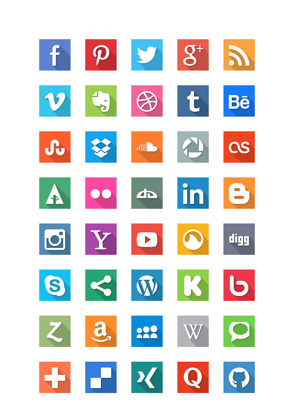 long shadow icon sets - 40 geniale Social Media Icons im Flat Design mit grossem Schattenwurf