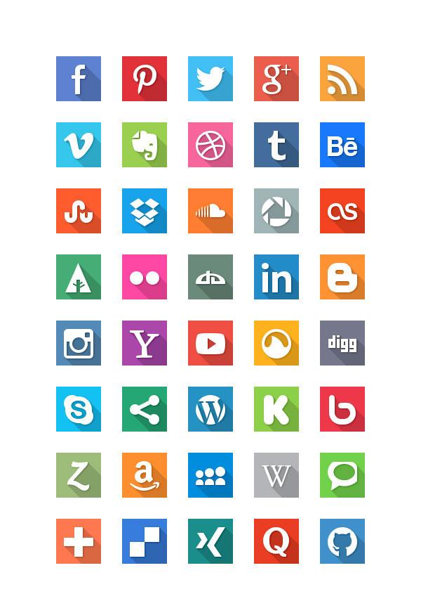 40 geniale Social Media Icons im Flat Design mit grossem Schattenwurf