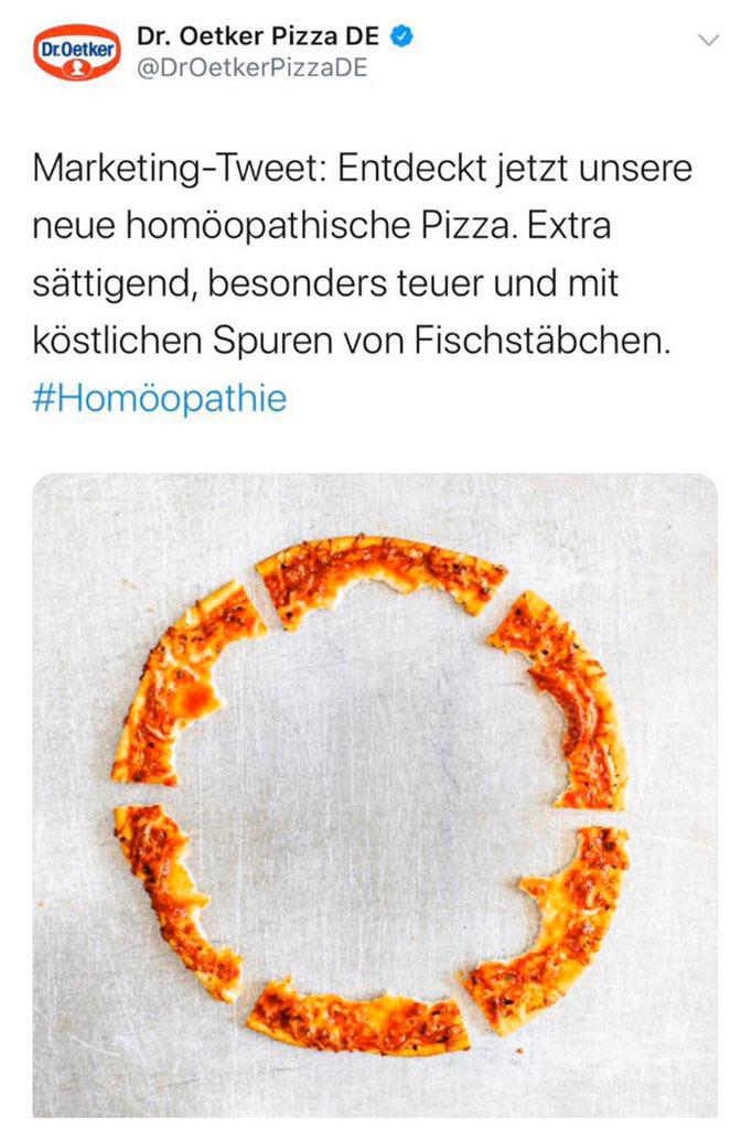 marketing dr oetker pizza 2019 1 - Dr. Oetker hats schon wieder gemacht - Homöopathie Provokation
