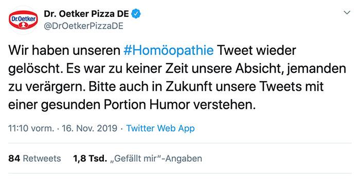 marketing dr oetker pizza 2019 2 - Dr. Oetker hats schon wieder gemacht - Homöopathie Provokation