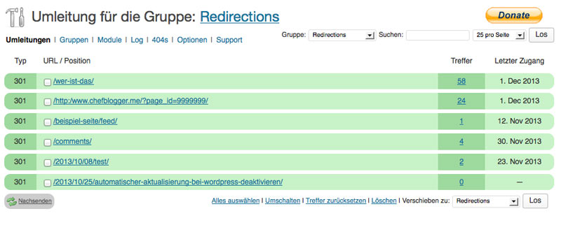 WordPress Plugin: Redirection