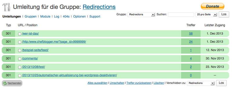 WordPress Plugin: Redirection
