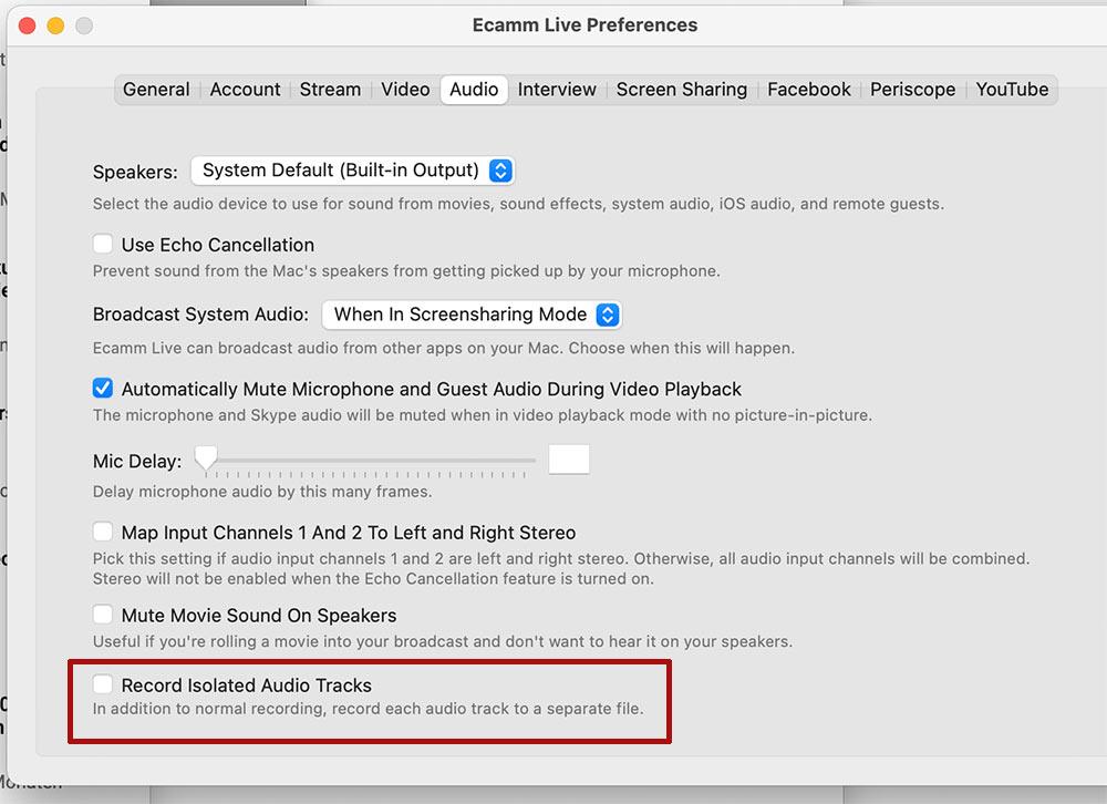 podcast mit ecamm live - Podcast erstellen mit Ecamm Live - getrenntes Audiofile exportieren