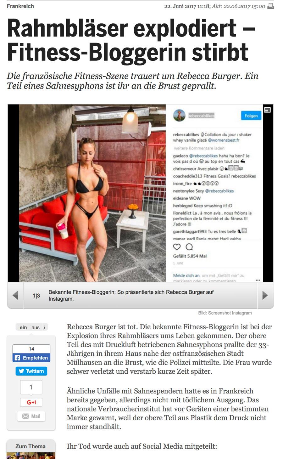 rebecca burger 20min - Fitness Bloggerin sprengt sich mit Küchengerät in die Luft und stirbt
