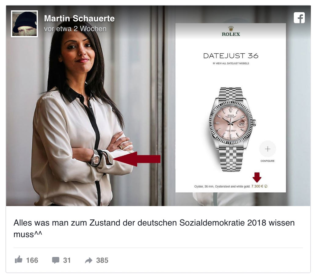 sawsan chebli rolex swatch 2 - So geht gutes Social Media