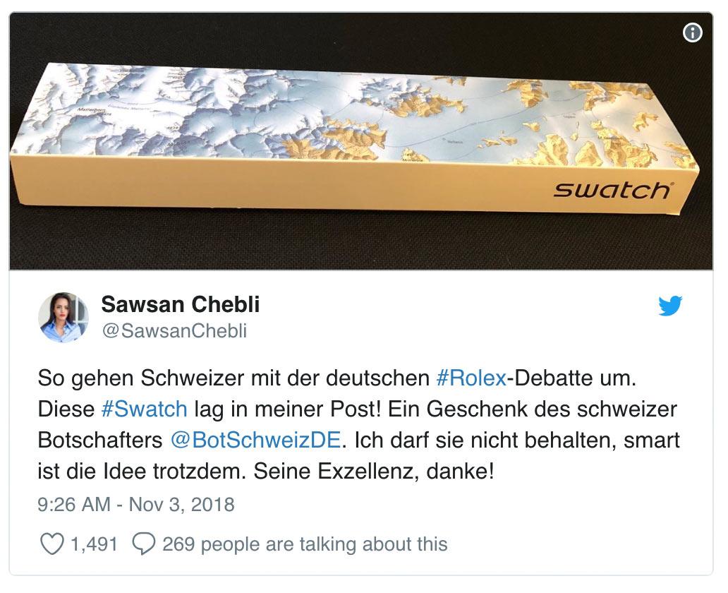 sawsan chebli rolex swatch 3 - So geht gutes Social Media
