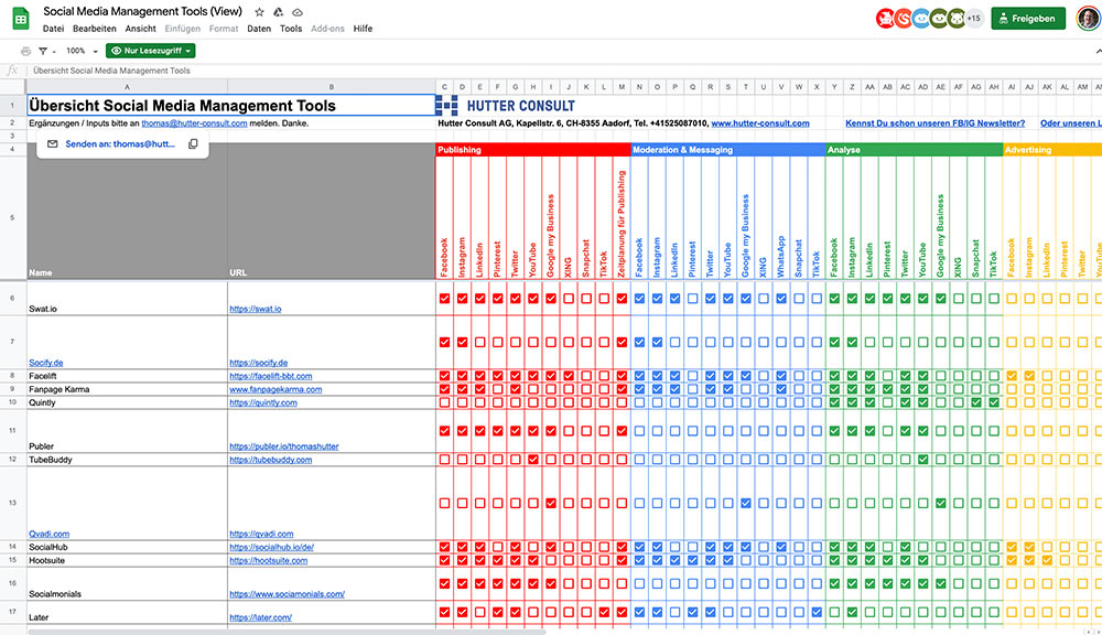 thomas hutter liste social media management tools 2020 - Übersicht Social Media Management Tools