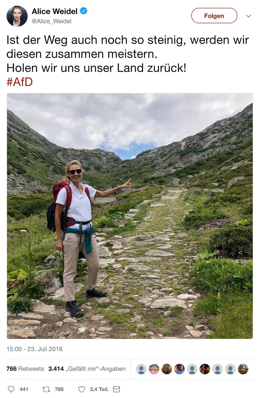 tweet alice weidel juli 2018 1 - AfD Twitter Fail - wenn man nicht aufpasst und sich lächerlich macht