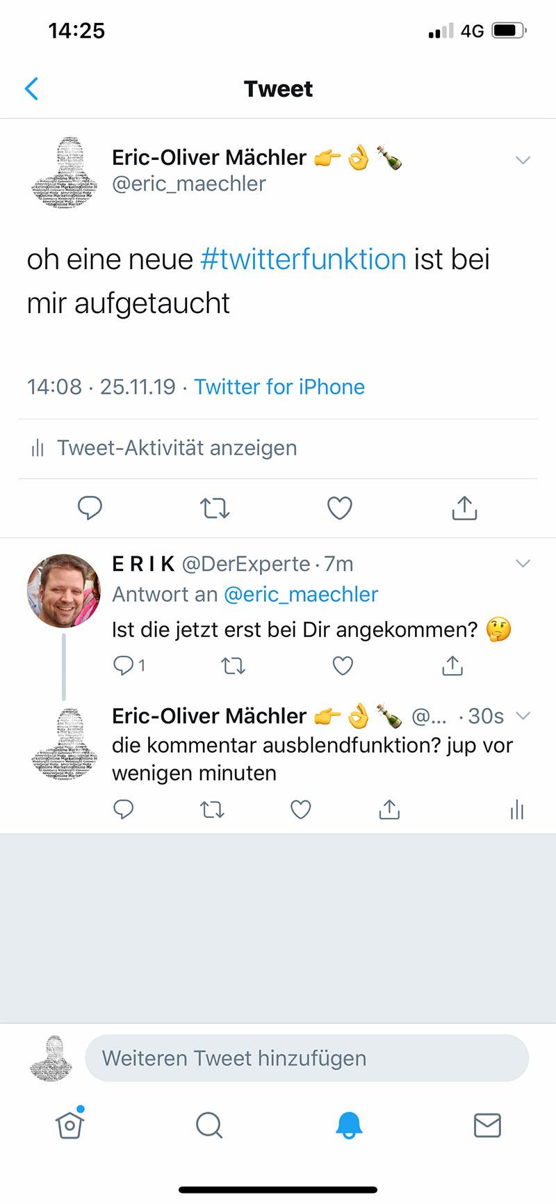 twitter funktion antwort ausblenden 1 - Twitter neue Funktion - Antwort ausblenden