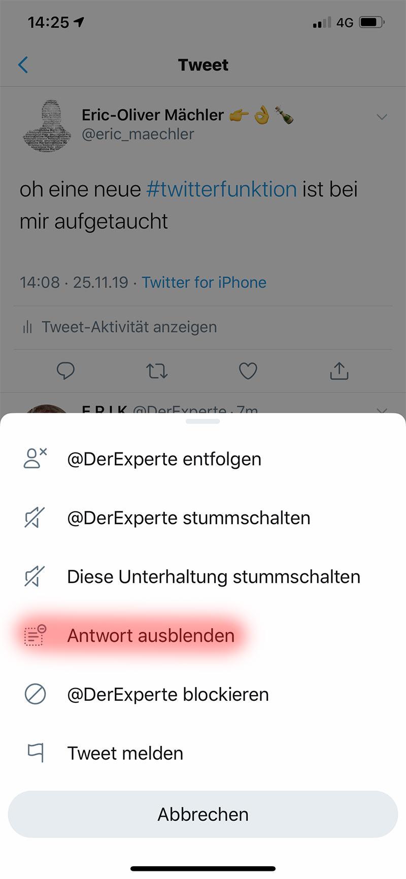 twitter funktion antwort ausblenden 2 - Twitter neue Funktion - Antwort ausblenden
