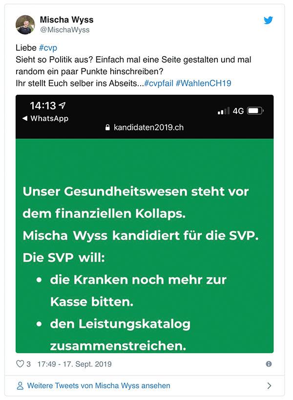 wahlkampf19 cvp negative kampagne 13 - Die CVP macht Negative Campaigning ist das ein guter Einsatz von Social Media? Schweizer Wahlkampf 2019