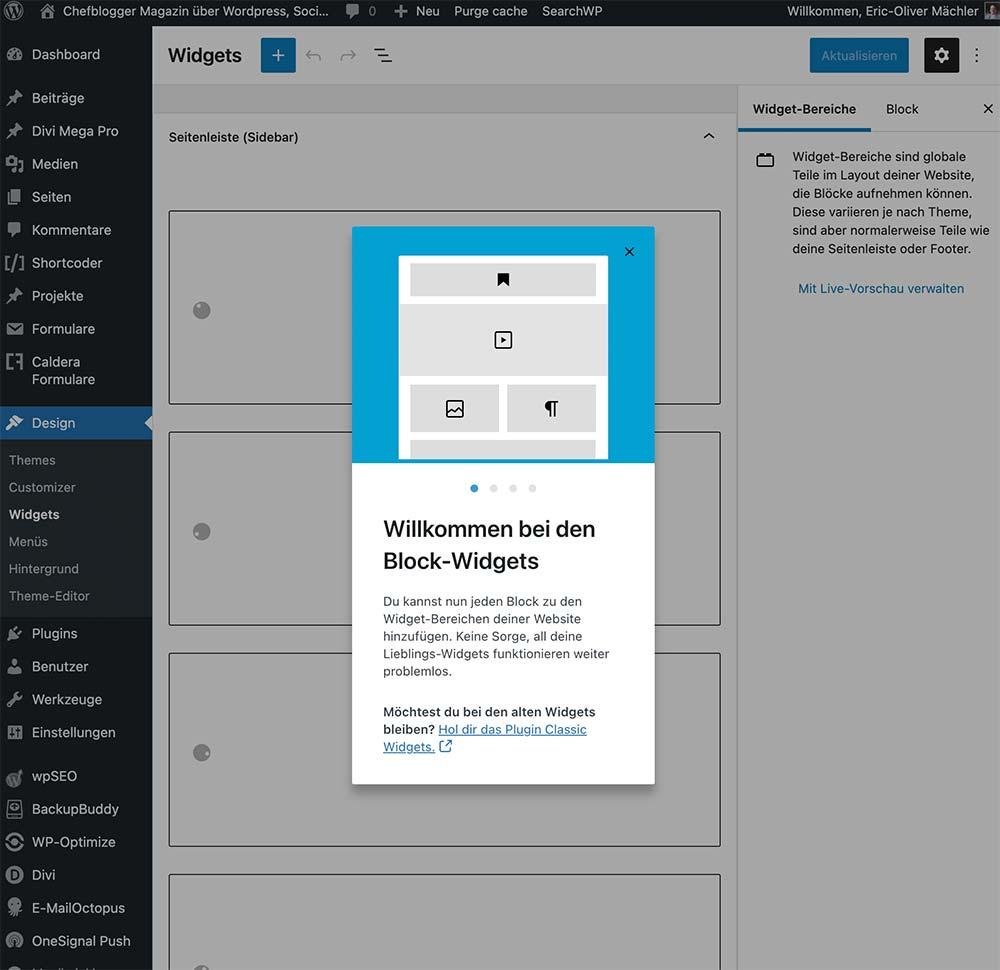 wordpress 5 8 widget new - WordPress Version 5.8 - Gutenberg Block Widget Bereich deaktivieren