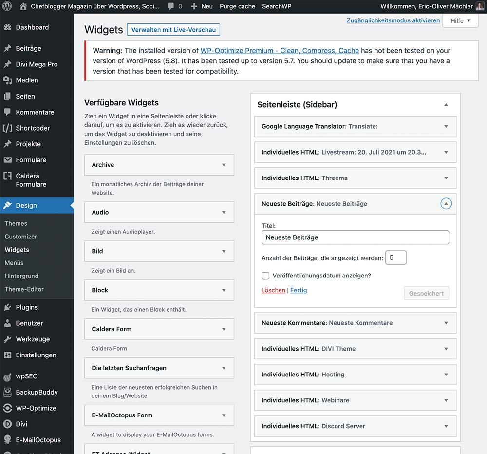 wordpress 5 8 widget old - WordPress Version 5.8 - Gutenberg Block Widget Bereich deaktivieren