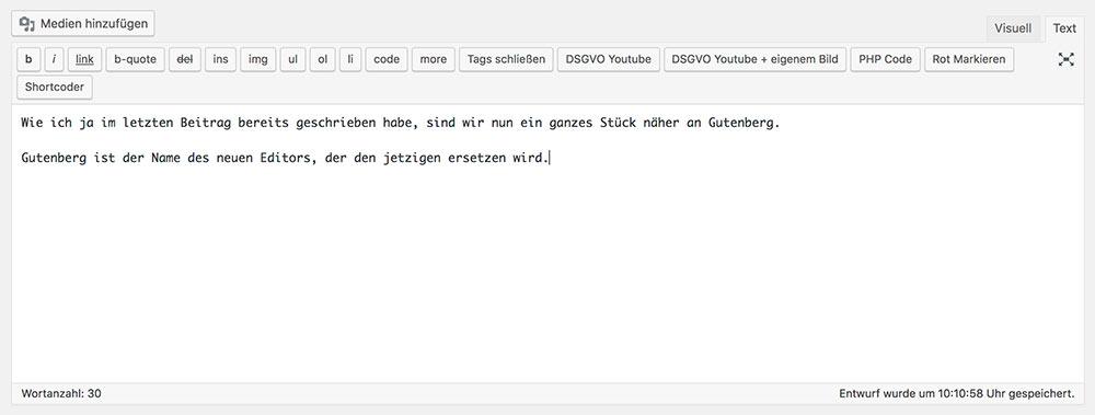 wordpress editor text - Anleitung: Wie verwende ich den WordPress Editor Gutenberg?